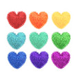 fluffy pom-poms in the shape of a heart vector image vector image