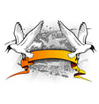 flying seagulls vector image vector image