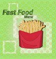 french fries street festival fast food menu vector image