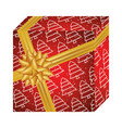 gift box present with christmas trees pattern vector image vector image