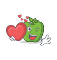 green apple character cartoon with heart vector image vector image