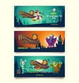 halloween party cartoon invitation banners vector image vector image