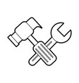 hammer and wrench tool repair support instrument vector image vector image
