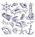 hand drawn marine set sea ocean voyage lighthouse vector image