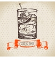 Hand drawn sketch cocktail vintage background vector image vector image