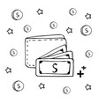 hand drawn wallet and cash money coin vector image