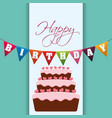 happy birthday cake garland decoration vector image