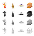 isolated object and travel logo set and vector image