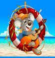 koala is playing guitar on beach vector image