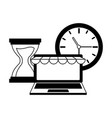laptop clock online shopping vector image vector image