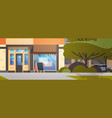 modern city street with empty no people coffee vector image vector image