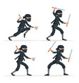 ninja japanese secret assassin sword character set vector image
