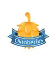 oktoberfest blue ribbon gold hop cones imag vector image vector image