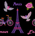 paris embroidery seamless pattern vector image vector image