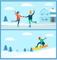 people skating snowboarding vector image