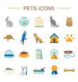 pets flat icons set vector image