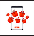 phone gadget with red gifts presents concept of vector image vector image
