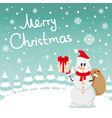 Postcard Snowman and snow vector image vector image