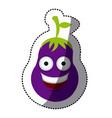 purple kawaii happy eggplant icon vector image vector image