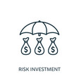 risk investment outline icon thin line concept vector image vector image