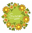 round frame with sunflowers and green leaves vector image vector image