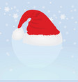 Santa claus hat on snowflake background