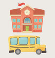 school building and bus transport vector image