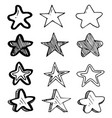 set hand drawn pattern stars doodle stars vector image