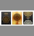 set poster golden mandala on black background vector image vector image