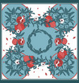 silk scarf with pomegranate branch with fruits vector image vector image