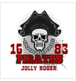 Skull in pirate hat - Jolly Roger vector image