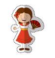 spanish little girl character vector image