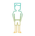 standing man cartoon with swimsuit vector image vector image