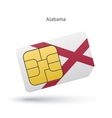 State of Alabama phone sim card with flag vector image vector image