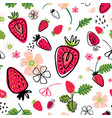 summer seamless pattern with slice strawberries vector image vector image