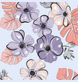 vintage pastel leaves and anemone flowers texture vector image vector image