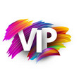 white vip sign with colorful brush strokes vector image