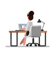 woman designer doing on tablet vector image vector image