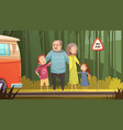 grandparents and grandchildren cartoon composition vector image