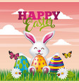 happy easter card cute bunny colored eggs vector image