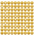 100 logistics icons set gold vector image vector image