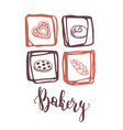 bakery shop hand drawn vintage icons set vector image vector image