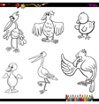 birds cartoon coloring page vector image