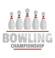bowling championship logo flat style vector image vector image