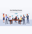 business team working process landing page vector image vector image