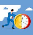 businessman pushing dollar coin clock vector image vector image