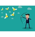 Businessman with a bow and arrow vector image vector image