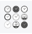 circle black isolated flat classic clock watch set vector image