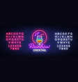 cocktail logo in neon style rainbow cocktail vector image vector image