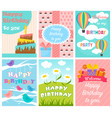 cute birthday card set vector image vector image